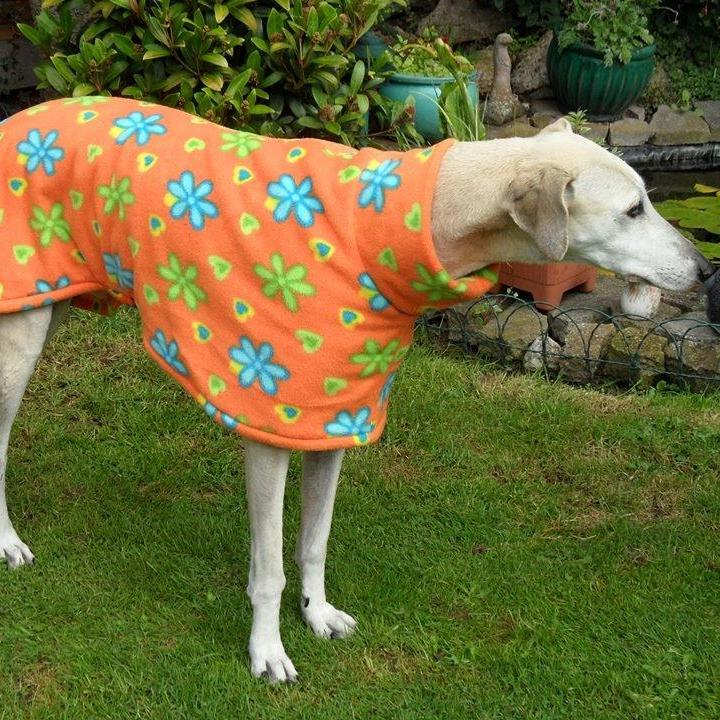 Sally wearing an Orange Floral Milgi Coats Fleece
