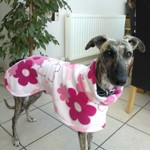 Milgi Coats Carly wearing a Pink Floral Fleece Coat