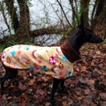 greyhound fleece coat in woodland creatures design modelled by peggy