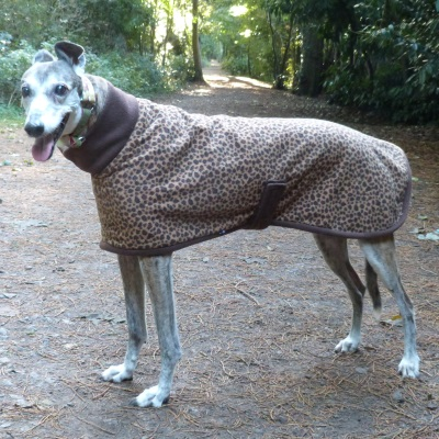 Greyhound Fleece Coat in Leopard design with Chocolate Trim