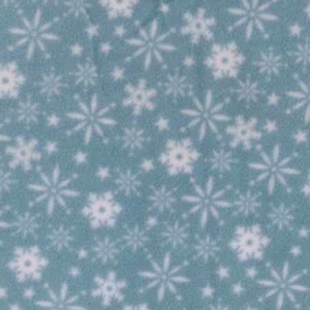 blue snowflakes fleece fabric