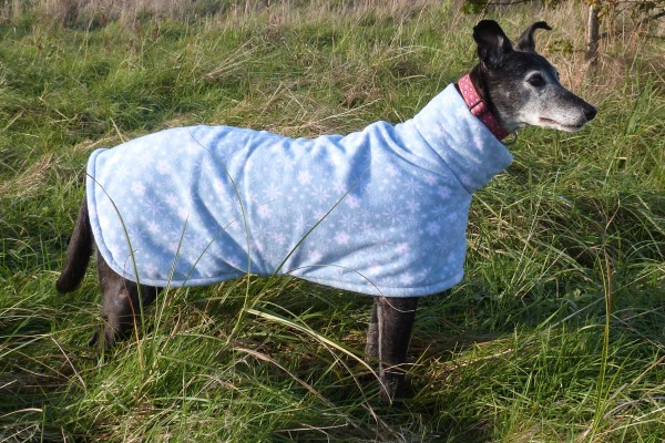 greyhound coat christmas blue snowflakes fleece