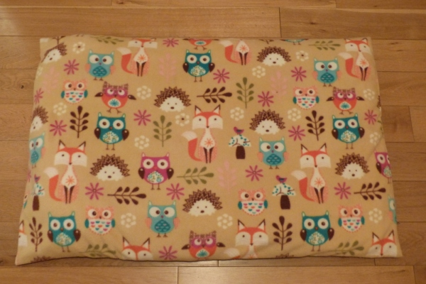 Dog Bed in Woodland Creatures fabric