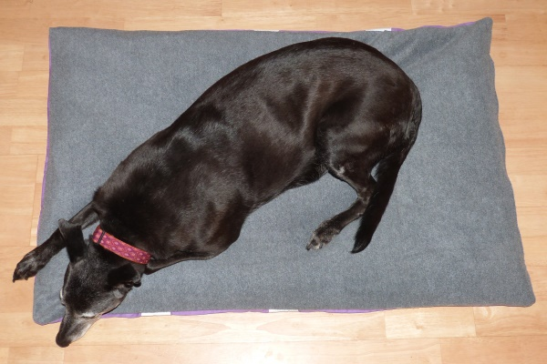 non slip dog bed in charcoal fleece
