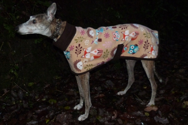 Greyhound Lurcher Whippet Fleece Coat in Woodland Creatures design with Dark Chocolate Brown trim
